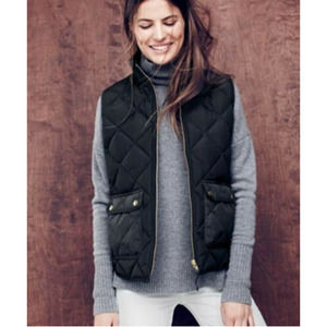 J. Crew Women's Excursion Black Quilted Down Puffer Vest  Size Small Gold Zipper